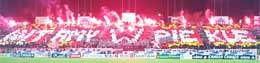 Cardboard choreography combined with flares! - photo: MaxyM Legia LIVE!
